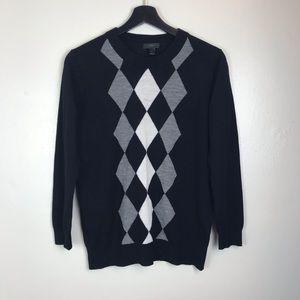J. Crew Black White Gray Argyle Sweater M